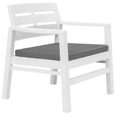vidaXL Juego de muebles de jardín 3 piezas plástico blanco