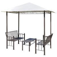 vidaXL Pérgola de jardín con mesa y bancos 2,5x1,5x2,4 m