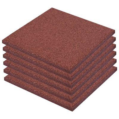 vidaXL Losetas de goma protección de caídas 6 unidades 50x50x3cm rojo