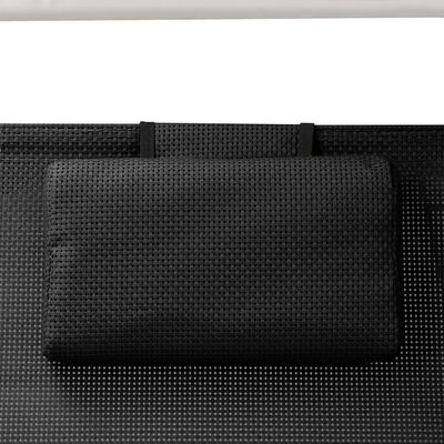 vidaXL Tumbona doble con toldo textilene negro