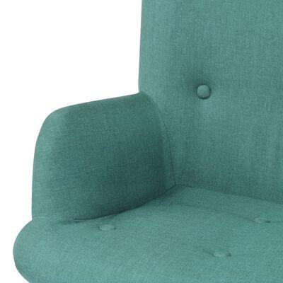 vidaXL Sillón con taburete reposapiés de tela verde