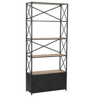 vidaXL Estantería de madera maciza y acero 80x32,5x180 cm