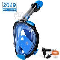 Máscara de snorkel con soporte para cámara - negro / azul - S / M