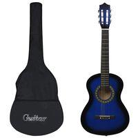 """vidaXL Set de guitarra clásica para principiantes 8 pzas azul 1/2 34"""""""