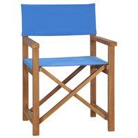 vidaXL Silla de director de madera maciza de teca azul
