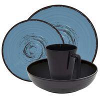 Eurotrail Vajilla de camping Bahia 16 piezas melamina negro y azul