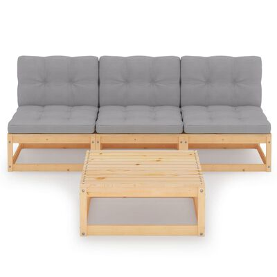 vidaXL Muebles de jardín 4 piezas con cojines de madera de pino maciza