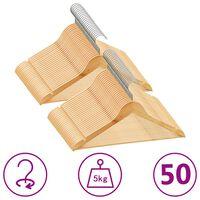 vidaXL Juego de perchas para ropa 50 uds antideslizantes madera dura