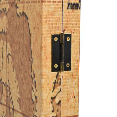 vidaXL Biombo divisor plegable 228x170 cm mapamundi amarillo