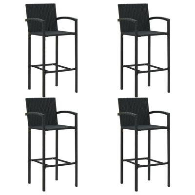 vidaXL Conjunto de bar para jardín 5 piezas negro