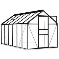 vidaXL Invernadero con estructura de aluminio gris antracita 7,03 m²