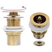 vidaXL Desagüe empuje sin función desbordamiento dorado 6,4x6,4x9,1 cm