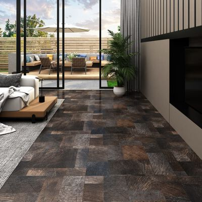 vidaXL Lama de suelo PVC autoadhesiva marrón estructura madera 5,11 m²