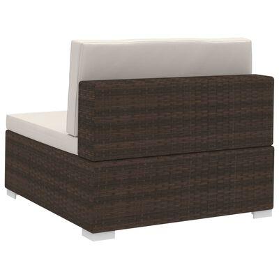 vidaXL Set sofás de jardín 3 piezas y cojines ratán sintético marrón