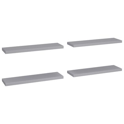 vidaXL Estantes flotantes pared 4 uds gris MDF 90x23,5x3,8 cm