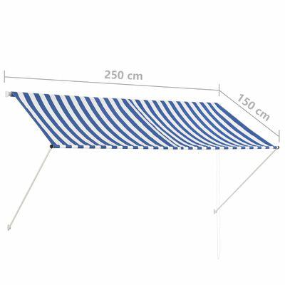 vidaXL Toldo retráctil 250x150 cm azul y blanco