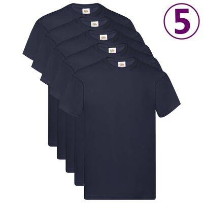 Fruit of the Loom Camisetas originales 5 uds azul marino M algodón