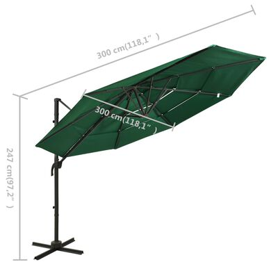 vidaXL Sombrilla de 4 niveles con poste de aluminio verde 3x3 m