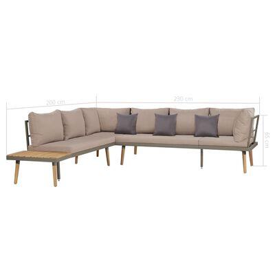 vidaXL Juego muebles de jardín 4 piezas y cojines madera maciza acacia