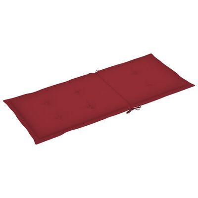 vidaXL Cojines para sillas de jardín 2 unidades rojo tinto 120x50x4 cm