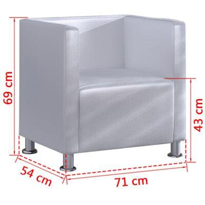vidaXL Sillón en forma de cubo de cuero sintético blanco