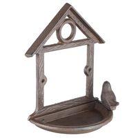HI Comedero para pájaros colgante con forma de casa marrón 18 cm