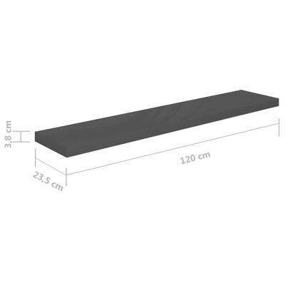 vidaXL Estante flotante de pared gris con brillo MDF 120x23,5x3,8 cm