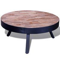 vidaXL Mesita baja de centro redonda de madera de teca reciclada