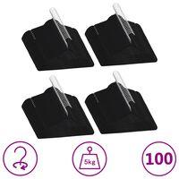 vidaXL Juego de perchas ropa 100 uds antideslizantes terciopelo negro