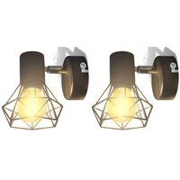 vidaXL Lámpara de pared alambre industrial negro bombilla LED