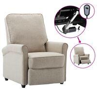 vidaXL Sillón reclinable eléctrica para TV de tela color crema