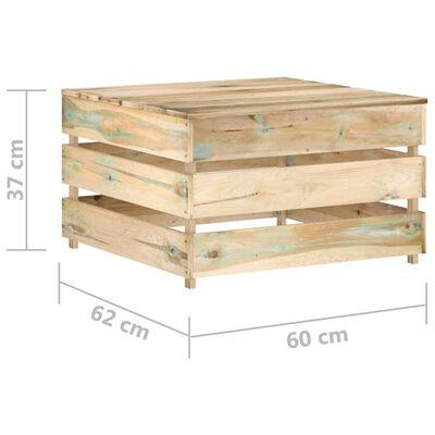 vidaXL Muebles de jardín 8 piezas con cojines madera impregnada verde