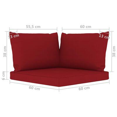 vidaXL Juego de muebles jardín de 6 piezas con cojines rojo vino tinto