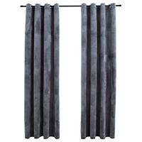 vidaXL Cortinas opacas anillas 2 uds terciopelo antracita 140x225 cm