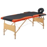 vidaXL Camilla de masaje plegable 2 zonas madera negro y naranja