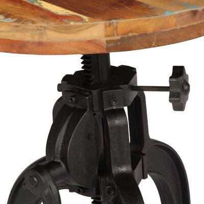 vidaXL Mesa auxiliar madera reciclada y hierro fundido 45x(45-62) cm
