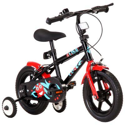 vidaXL Bicicleta para niños 12 pulgadas negro y rojo