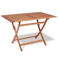 vidaXL Mesa plegable de jardín madera maciza de teca 120x70x75 cm