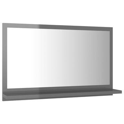 vidaXL Espejo de baño aglomerado gris brillante 60x10,5x37 cm