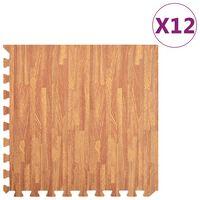 vidaXL Esterilla de suelo 12 pzas color madera 4,32 ㎡ EVA