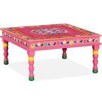 vidaXL Mesa de centro de madera maciza de mango pintada a mano rosa