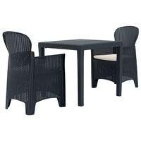 vidaXL Mesa y sillas de jardín 3 piezas plástico gris aspecto ratán