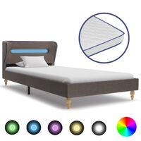 vidaXL Cama con LED y colchón viscoelástico tela gris topo 90x200 cm