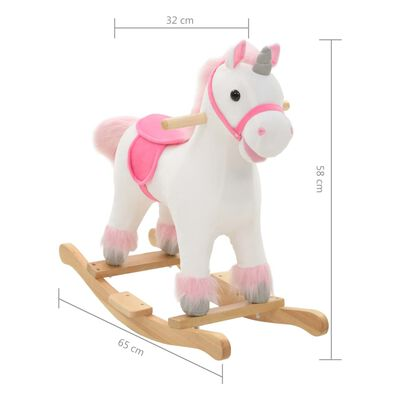 vidaXL Balancín de unicornio de peluche 65x32x58 cm blanco y rosa