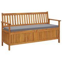 vidaXL Banco de almacenaje de jardín con cojín 148 cm madera acacia