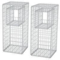 vidaXL Cesta poste/jardinera de gaviones 2 unidades acero 50x50x120 cm