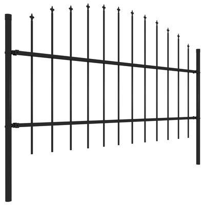 vidaXL Valla de jardín con puntas de lanza acero negro (0,75-1)x10,2 m