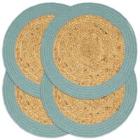 vidaXL Mantel individual 4 uds yute y algodón natural y verde 38 cm