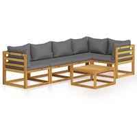 vidaXL Muebles de jardín 6 pzas cojines madera maciza de acacia