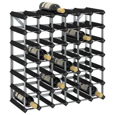 vidaXL Botellero para 42 botellas madera maciza de pino negro